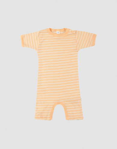 Baby wool/silk summer bodysuit- apricot/nature