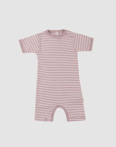 Baby organic wool/silk summer bodysuit- Pastel Pink/ Nature