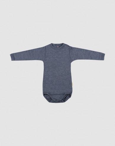 Baby organic wool/silk long sleeve bodysuit- Mottled Blue