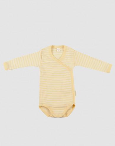 Baby Organic Wool/Silk Wrap Bodysuit- Light Yellow/ Nature