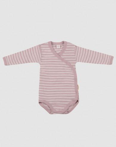 Baby organic wool/silk wrap bodysuit- Pastel Pink/ Nature