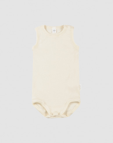 Baby sleeveless wool/silk bodysuit- nature