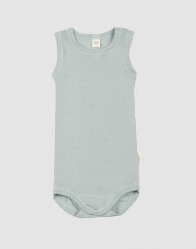 Baby organic wool/silk sleeveless bodysuit- Pastel Green