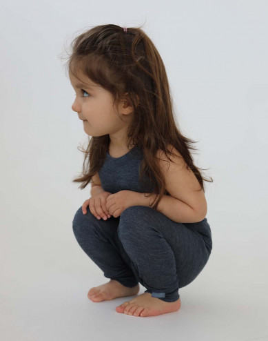 Baby organic wool/silk leggings- Mottled Blue