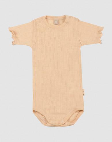 Baby merino wool/silk pointelle short sleeve body