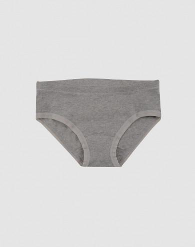 Girls' cotton briefs- grey melange