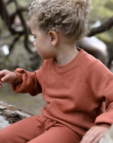 Children's wool terry sweatshirt with wide sleeves
