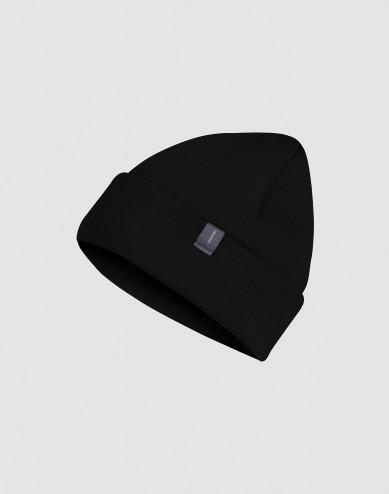 Children's wool terry hat- black