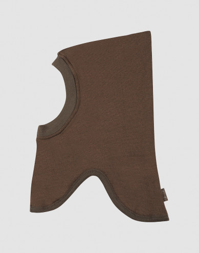 Children's wool terry balaclava- Dark Chocolate