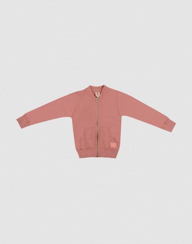 Children's wool terry zip jumper- Dark Pink