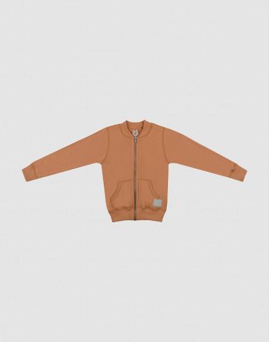 Children's wool terry zip jumper- Caramel