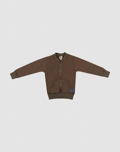Children's wool terry zip jumper- Dark Chocolate