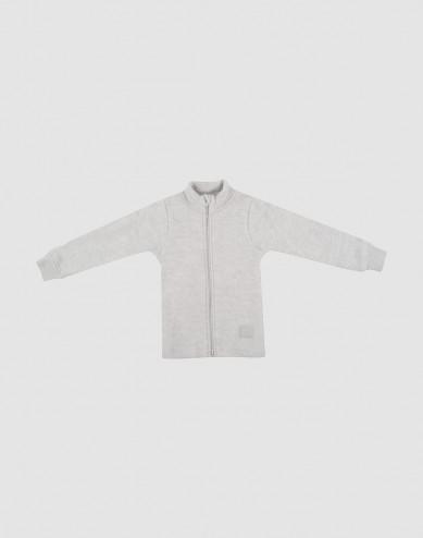 Children's merino wool fleece jacket- Light Grey