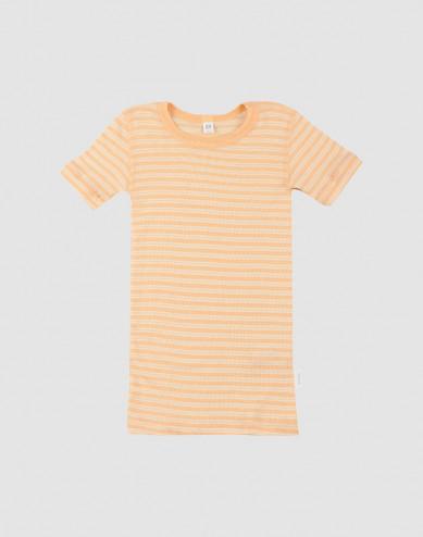 Children's organic wool/silk T-shirt- apricot/nature
