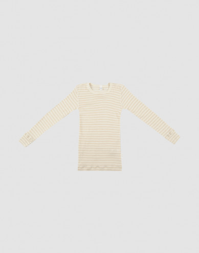 Children's organic merino wool/silk long sleeved top - beige/nature