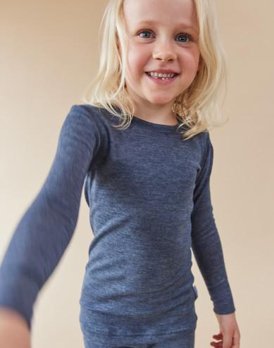 Children's long sleeve organic wool/silk top- Mottled Blue
