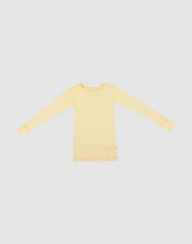 Kids' Organic Wool/Silk Long Sleeve Top- Light Yellow/Nature