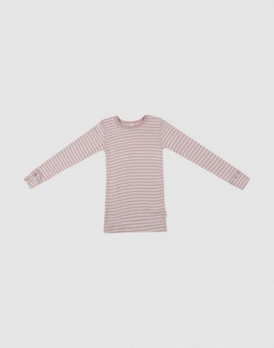 Children's organic wool/silk long sleeve top- Pastel Pink/Nature