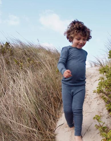 Children's organic wool/silk leggings- Mottled Blue