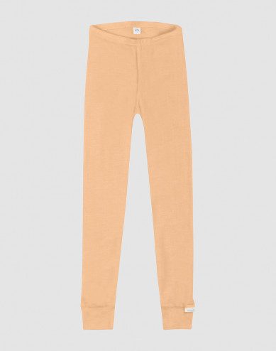 Children's organic wool/silk leggings- apricot