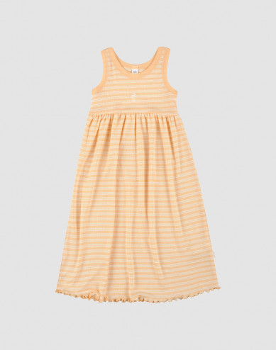 Children's organic wool/silk dress- apricot/nature