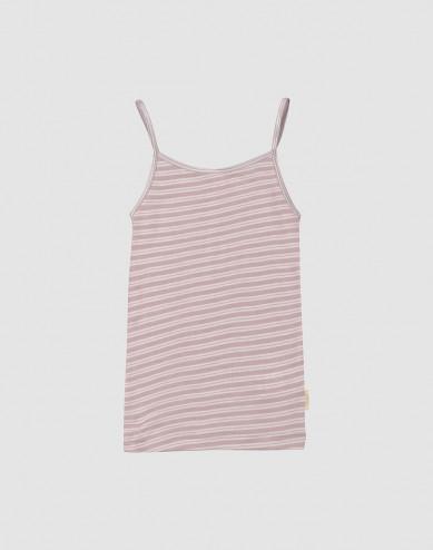 Children's organic wool/silk striped strap top- Pastel Pink/ Nature