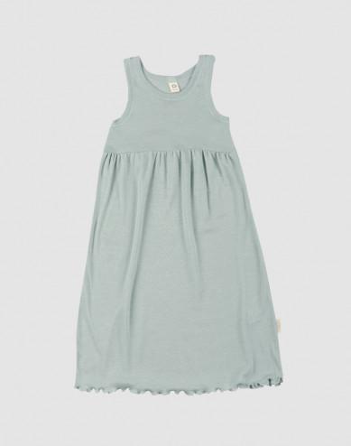 Children's organic wool/silk strap dress- Pastel Green