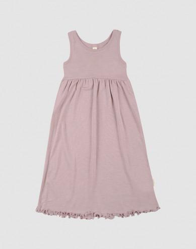 Children's organic wool/silk strap dress- Pastel Pink