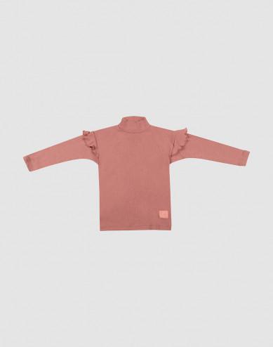 Children's ruffled wool top- Dark Pink