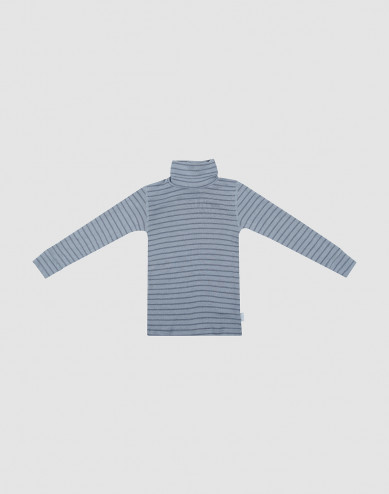 Children's merino wool turtleneck top- Blue Stripe