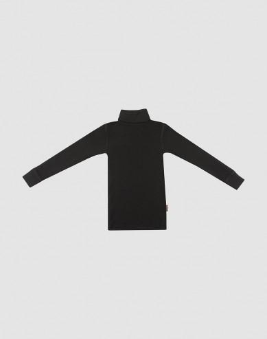 Children's merino wool turtleneck top- Black