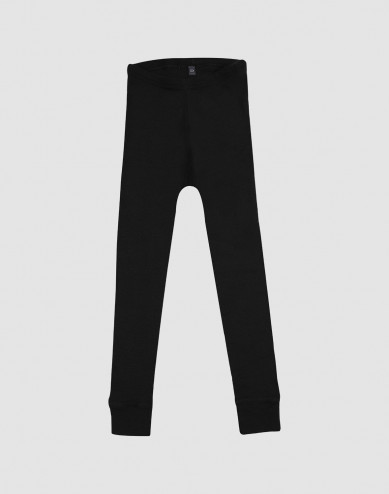 Kids' organic merino wool long johns- black