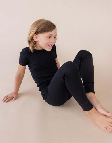 Kids' organic merino wool T-shirt- black