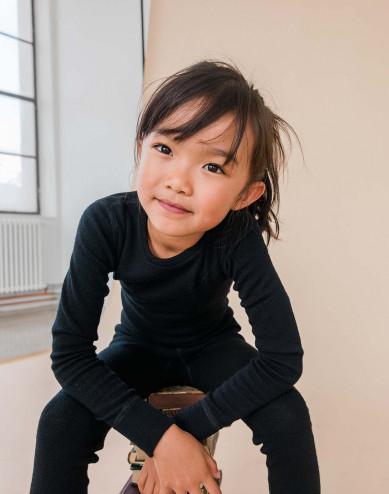 Kids' organic merino wool long sleeve top- black