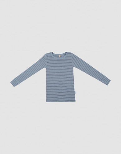 Children's wool long sleeve top- Blue Stripe