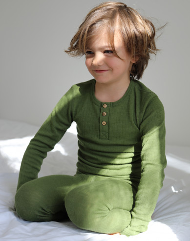 Children's merino wool top with buttons