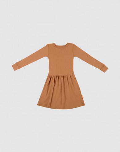 Children's rib knit wool dress- Caramel