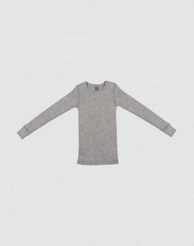 Children's ribbed long sleeve top- grey melange
