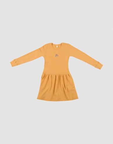 Children's long sleeve wool knit dress- yellow