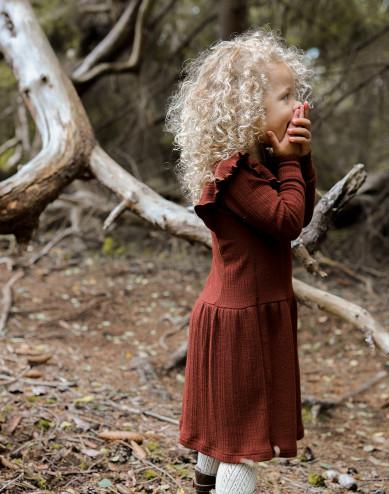 Children's merino wool dress with ruffles