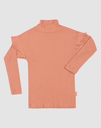 Children's merino wool ruffled top