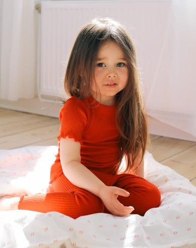 Children's merino wool leggings with frilled edges