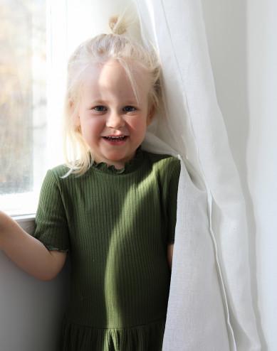 Children's merino wool dress with frilled edged