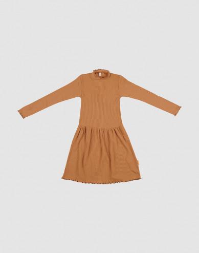 Kids merino wool dress with frilled edges- Caramel