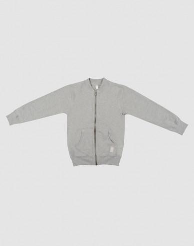 Children's sweatshirt with zip- grey melange