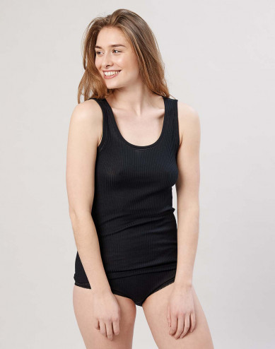 Women's ribbed merino wool tank top- black