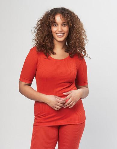 Women's ribbed merino wool T-shirt - Red