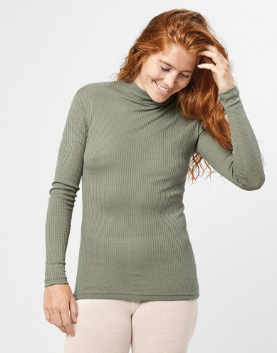 Women's merino wool high neck ribbed top- olive green