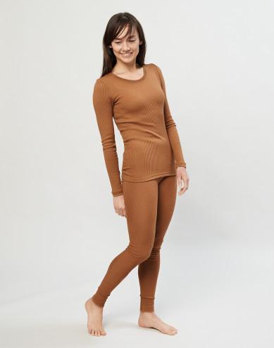 Women's merino wool ribbed leggings- caramel