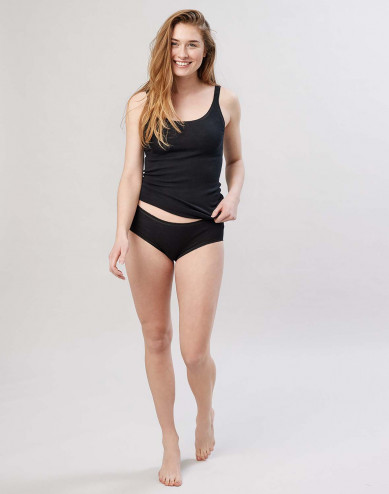 Women's midi merino wool briefs- black